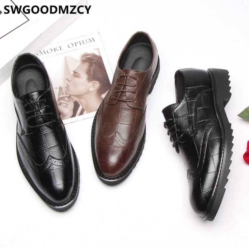 Brogue-Zapatos oficiales de cuero para Hombre, calzado Formal, para boda