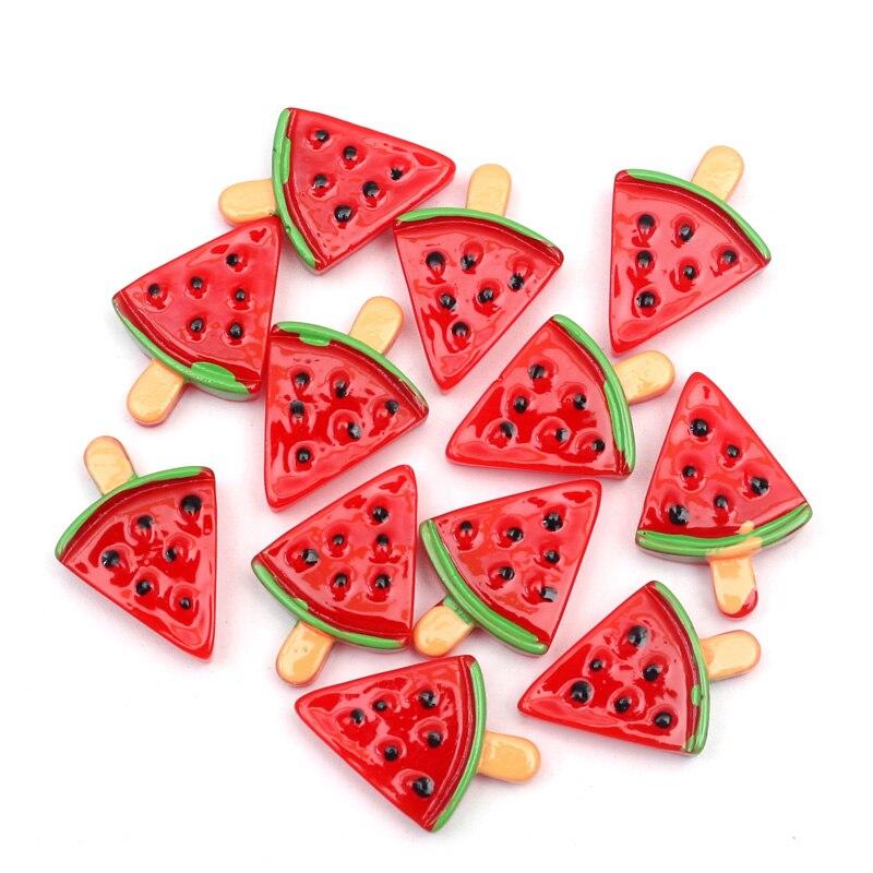 10 Uds resina rojo sandía suministros de masa viscosa suave arcilla adiciones accesorios encantos relleno para juguete de Slime adornos Accesorios