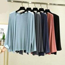 Modal Jacket Women Big Size Basical Cotton Coat Blue Dye Plus Size Full Sleeves Summer Fashion Stude
