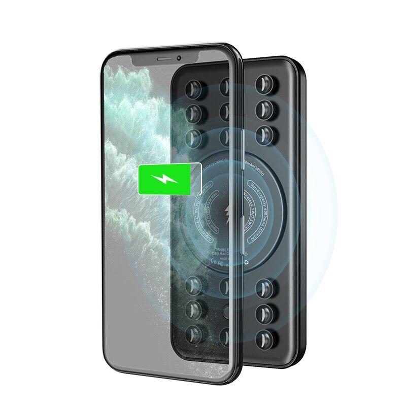 Qc 3.0 18 w qi pd rápido carregador sem fio para iphone samsung huawei power bank 10000 mah powerbank carregador portátil bateria externa