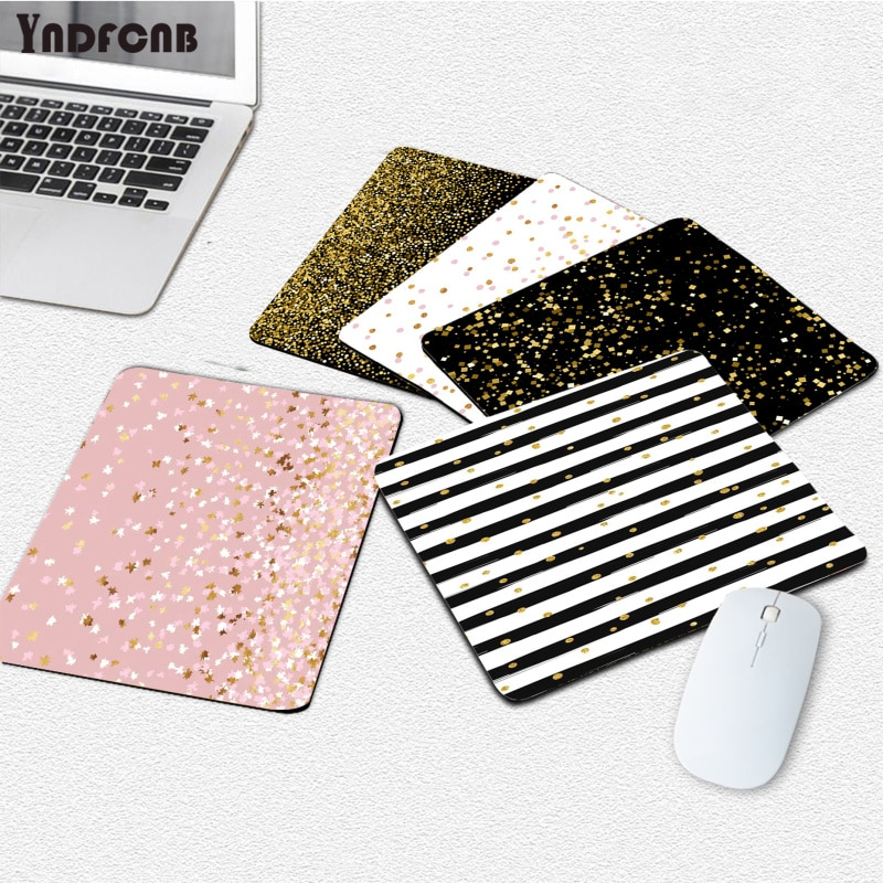 YNDFCNB плавающие точки, черный и золотой на белом ноутбуке, игровые мыши, коврик для мыши, гладкий коврик для письма, настольные компьютеры, ков...