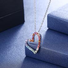 Pendentif en forme de coeur coloré LEKANI cristaux de Swarovski collier 925 en argent Sterling cadeaux foudre Wome Chic bijoux