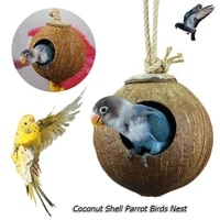 cute comfortable design natural coconut shell bird nesting house for small size pet parakeet sparrows cage with hanging lanyard