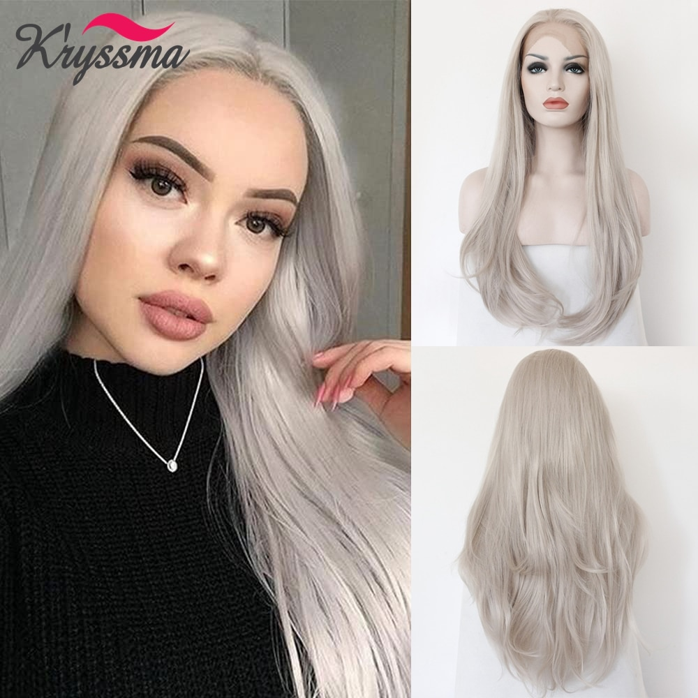 Grey Lace Front Wigs Long Straight Hair Wigs Ash Platinum Color Heat Resistant Fiber Hair Glueless Synthetic Lace Wigs for Women