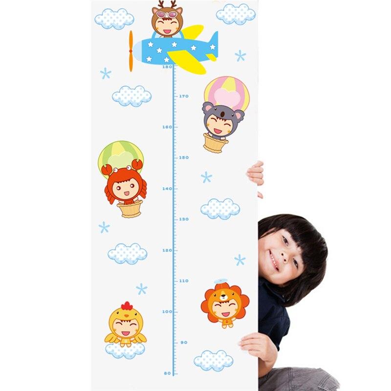 Мультфильм Летающий ребенок пилот схема роста наклейки на стену для детской комнаты декор Детская роспись искусство Diy домашние наклейки п...