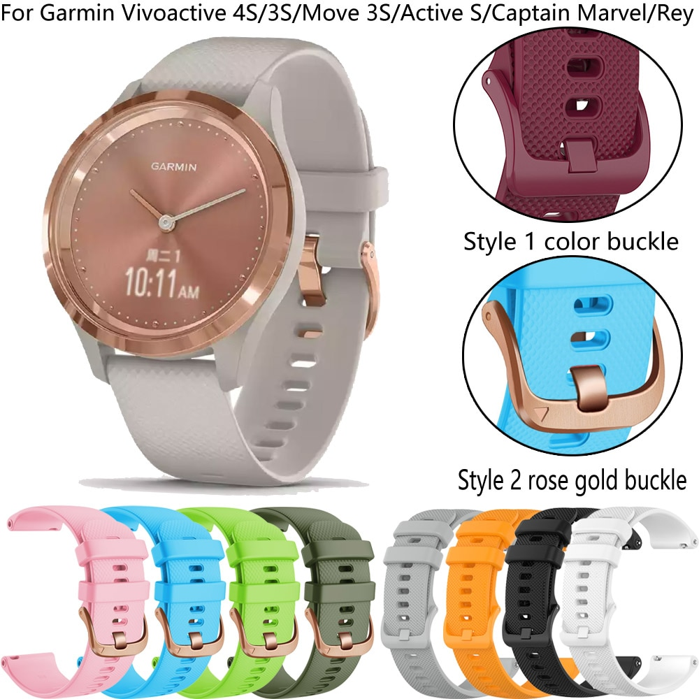 18mm Silicone Band Strap Quick Release Watchband Bracelet For Garmin Vivoactive 4S/Move 3S/Active S/
