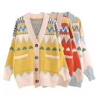 womens button down sweater casual long sleeve v neck loose knit cardigan with front pockets