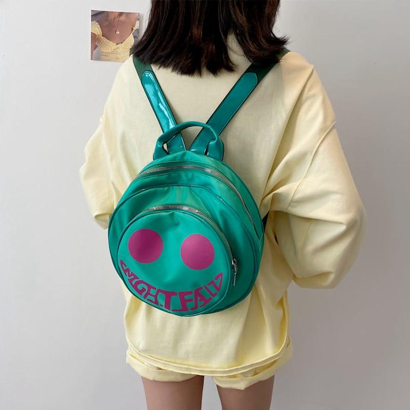 рюкзак 2015 pu mochila 56gy Забавный женский рюкзак Xiuya 2021, уличная Водонепроницаемая маленькая дорожная сумка, корейский модный круглый женский рюкзак, рюкзак, Mochila