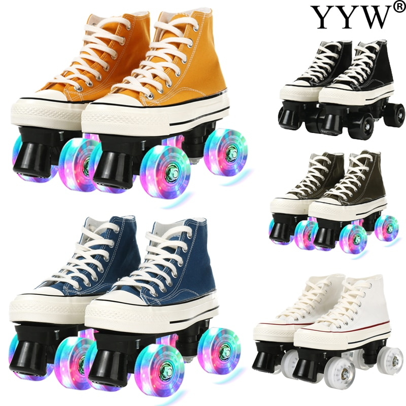 Professional Adult Quad Skates Double Row Roller Skates Unisex Canvas Shoes For Lovers Two Line Flashing Wheels Patines