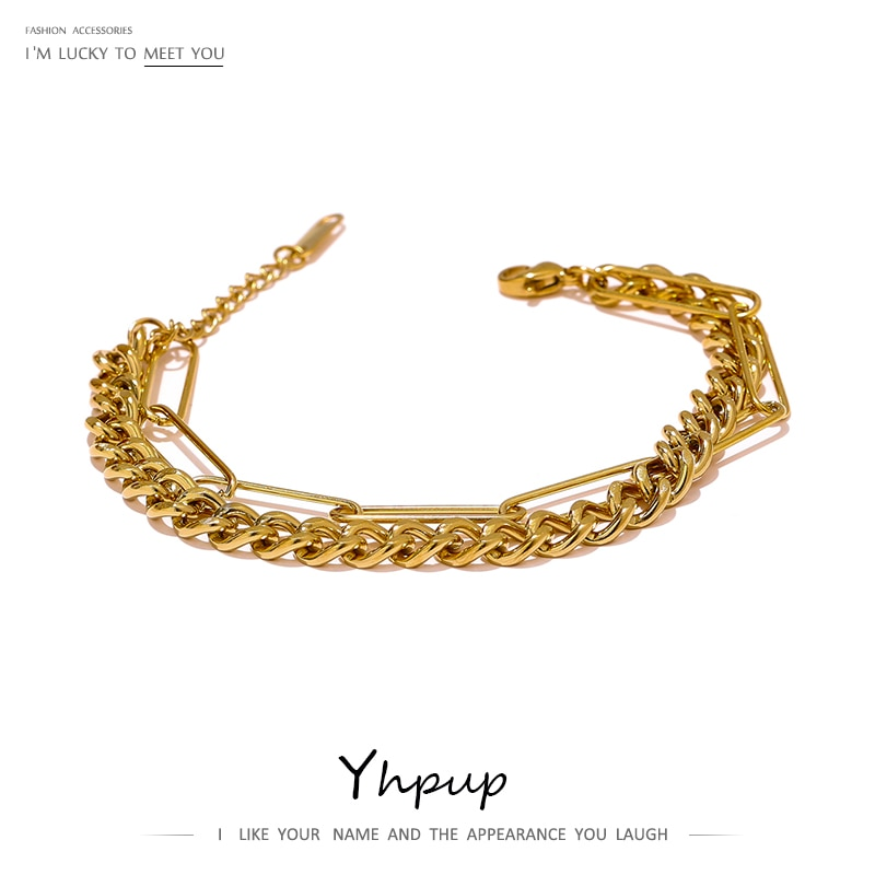 Yhpup 2021 chaîne en couches Bracelet en métal nouveau Bracelet géométrique en acier inoxydable couleur or 18 K Bagues Pour Femme chaude