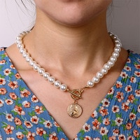 IPARAM Bohemian Pearl Coin Necklace 2020 Fashion Women Gold Coin Pearl Chain Choker Necklace Jewelry Collar Wholesale