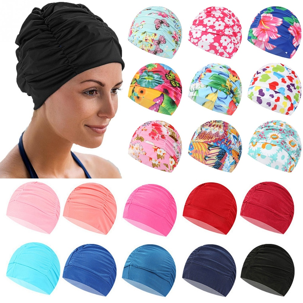 1pc Shower Cap Swimming Cap Elastic Nylon Turban Flowers Printed Pool Bathing Hat Long Hair Protect