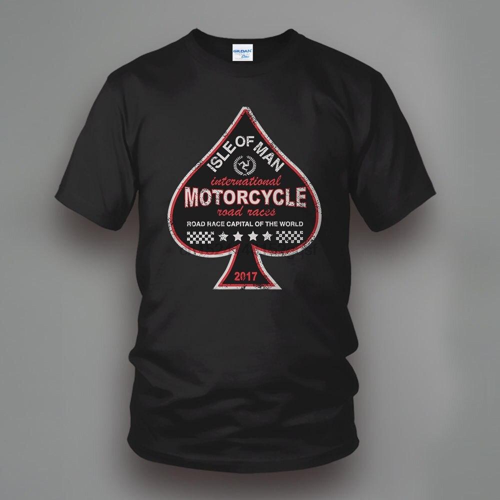 2018 verano hombres ropa de algodón impreso redondo hombre Camiseta Isla de Man TT Road Race Ace of Spades motocicleta camiseta
