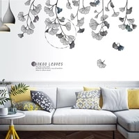 gingko leaf flowers wall stickers bedroom decal living room decoration aesthetic tv sofa backdrop self adhesive wallpaper art