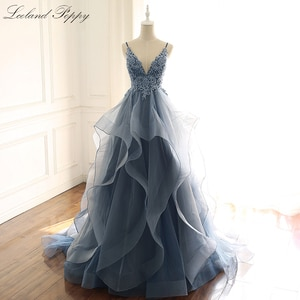 Lceland Poppy A-line V-neck Evening Dresses Beaded Floor Length Robe de Soiree Tiered Lace Appliques Tulle Formal Gowns