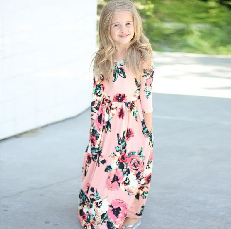 Girls Maxi Dress Long Sleeve 2019 Lol Autumn Bohemia USA Floral Beach Party 2 3 4 5 6 7 8 Year Girls Fall Toddler Girls School