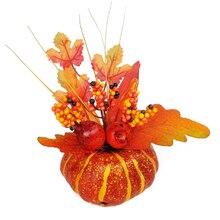 가을 가을 장식 호박 수확 소품 추수 감사절 chritstmas 파티 수확 축제에 대한 인공 호박 잎