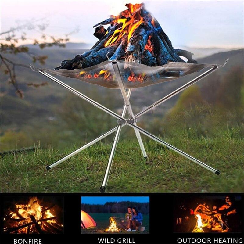 مدفأة محمولة مع شبكة فولاذية مثالية للتخييم ، حامل حريق مثالي للخارج والفناء الخلفي والحديقة مع حقيبة حمل