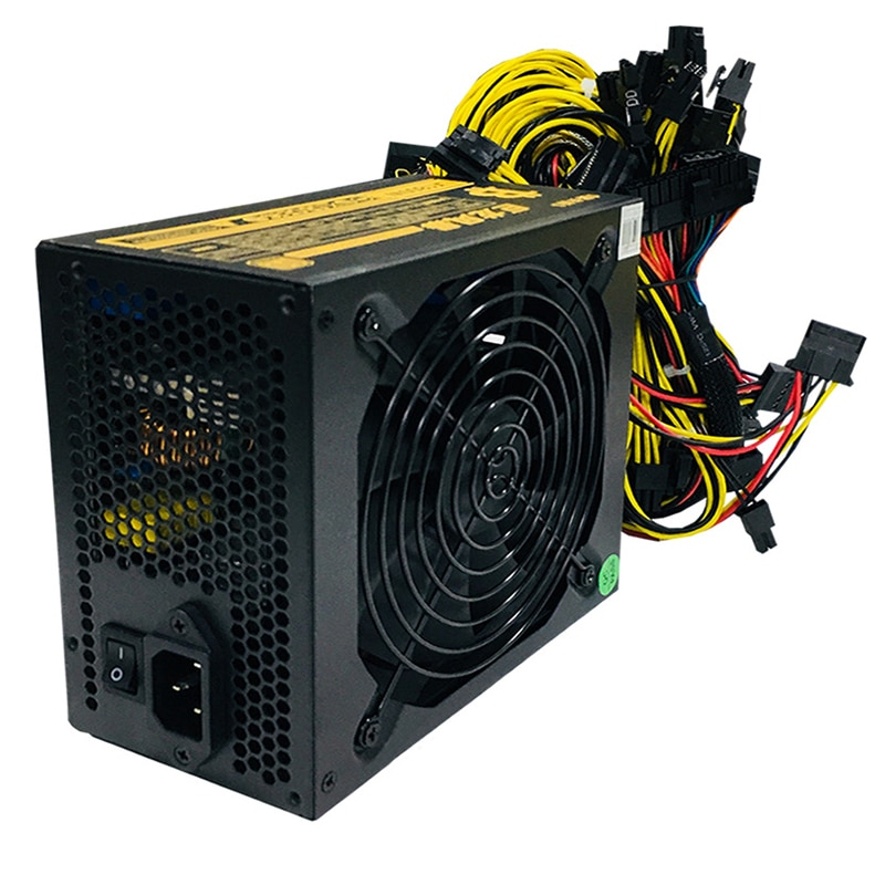 1800W Rated Miner Power Supply 95% High Efficiency AC 110-260V ATX Mining Power Source Support 8 CPU Card Max Up to 2000W New