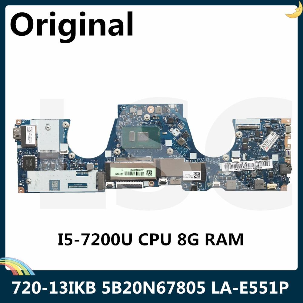 Lsc para lenovo yoga 720-13ikb computador portátil placa-mãe 5b20n67805 LA-E551P com i5-7200U 8gb ram