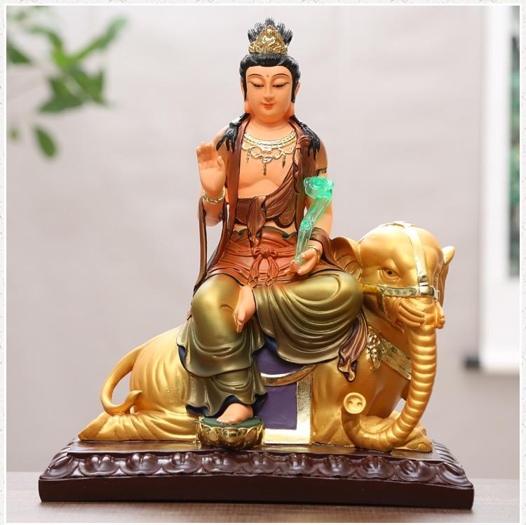 Sudeste da Ásia Chapeamento de Ouro Grande Casa Santuário Proteção Eficaz Elefante Deus Samantabhadra Buda Feng Shui Estátua 30cm