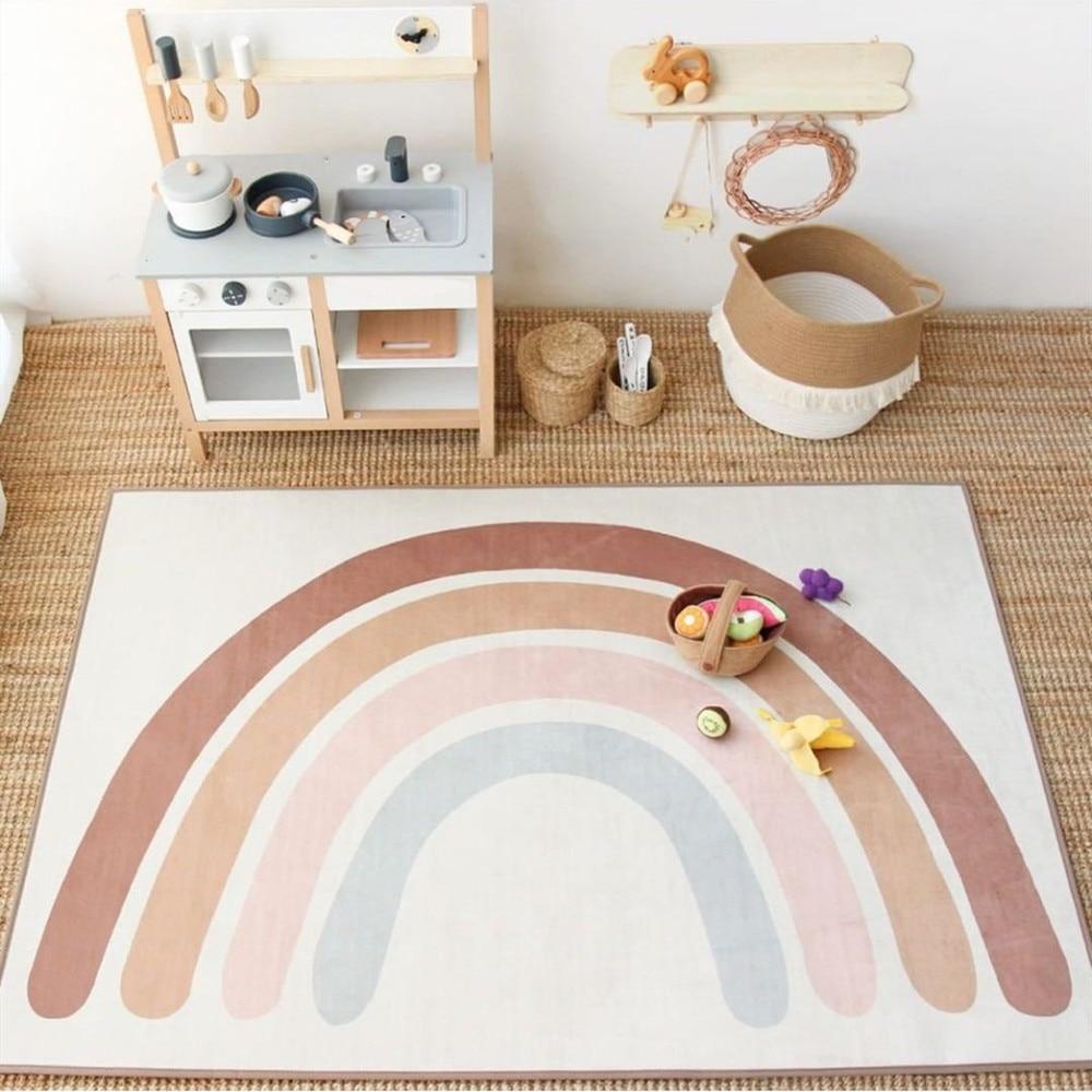 Rainbow Play Mats Kids Rug Floor Mat Tapete Tummy Children Playmat Rainbow For Bedroom Rugs Nursery Decor