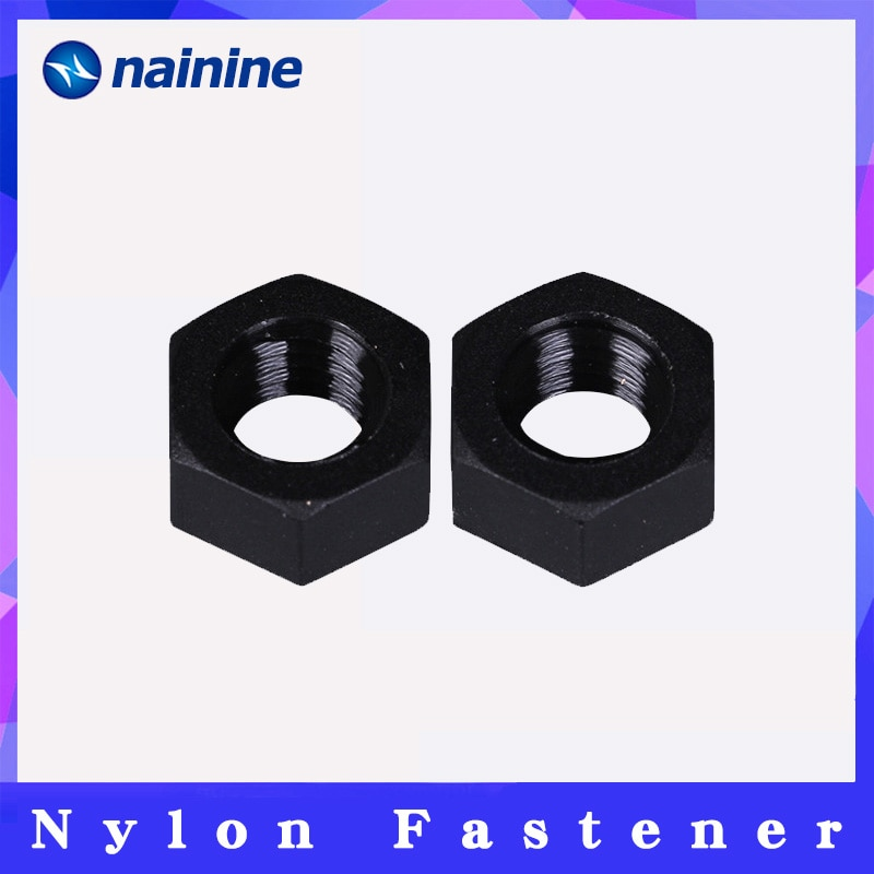 50Pcs DIN934 M2 M2.5 M3 M4 M5 M6 M8 Black Nylon Hex Nut Hexagon Plastic Nuts NL14