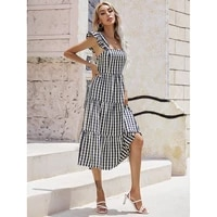 summer new mid waist vertical stripes sling ruffled a line skirt casual commuting regular black and white stitching dress