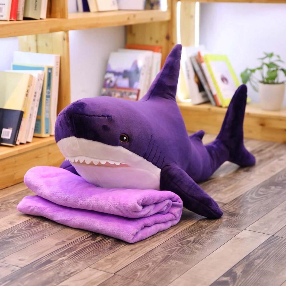 60-140cm Big Plush Shark From Russia Shark Plush Toys with blanket Stuffed Dolls Soft Animal Pillow Kids Baby Toys Birthday Gift