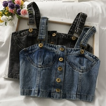 Women's Korean-Style Short Cropped Single-Breasted Denim Vest 2021 New Niche Outdoor All-Matching Ch