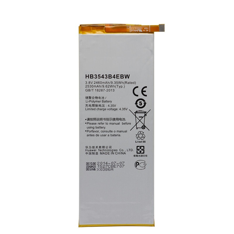 Bateria de substituição hb3543b4ebw para huawei ascend p7 l07 l09 l00 l10 l05 l11 2460mah original antirr bateria de substituição