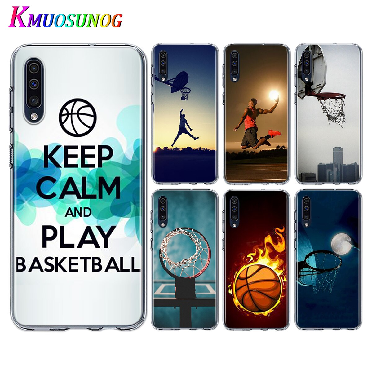 Funda de teléfono de TPU suave I Love Basketball para Samsung Galaxy A90 A80 A70S A70 A60 A50S A40 A20E A20 A10S