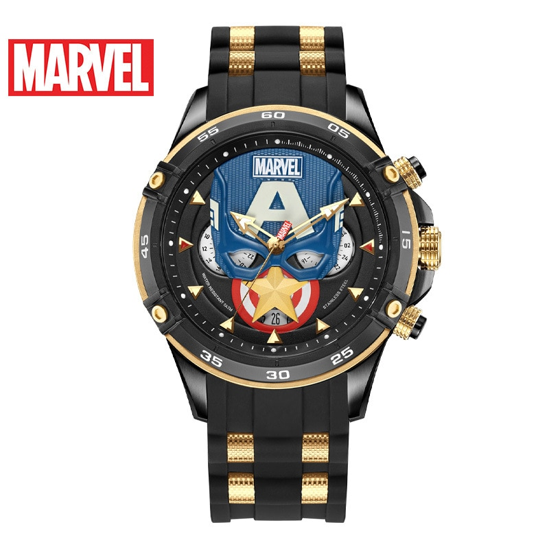 Disney Fashion Casual Multifunctional Men's Watch Marvel Men's Watch Captain America Waterproof Quartz Watch