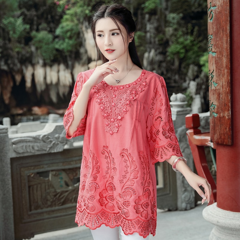 New summer dress  2019 Chinese style embroidery nail bead hollow round collar trim body literary pure cotton blouse