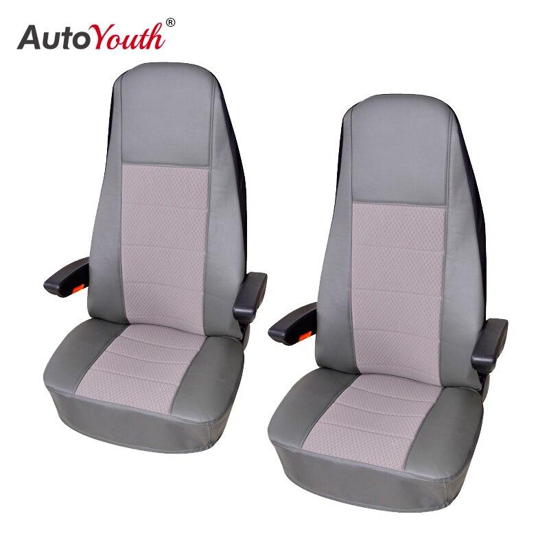 Fundas de asiento de PU AUTOYOUTH, 1 unidad, cubierta de asiento de coche para transporte/furgoneta, ajuste Universal con accesorios interiores de camiones de cuero Artificial