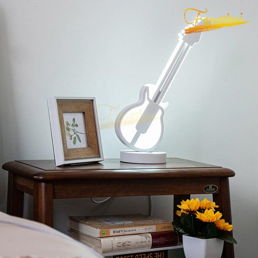 Decoración de guitarra moderna, Interruptor táctil, luces de mesa, nórdico minimalista, LED Tricolor, atenuación, lámpara de mesa, lámparas de habitación