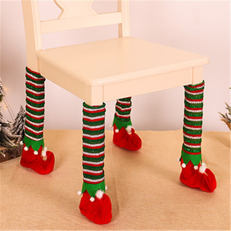 Maxsin 4 قطعة/الوحدة جديد زينة عيد الميلاد مخطط الجنية الجدول الساق غطاء كرسي الساق غطاء المنزل طاولة وكرسي الغطاء الواقي