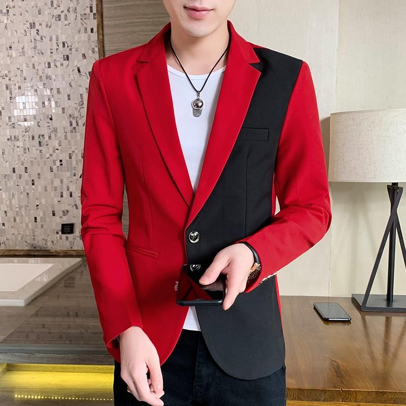 جاكيت رجالي غير رسمي ، ملابس عصرية كورية ، بدلة مرقعة ، جاكيت صيفي رقيق ، ملابس أنيقة ، معطف ضيق ، أحمر ، أبيض ، أزرق