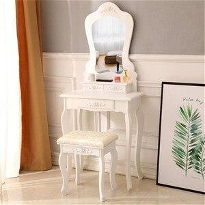 Irregular Single Mirror 3 Drawer Dressing Table White Makeup Table Furniture for Bedroom Modern Dressing Table