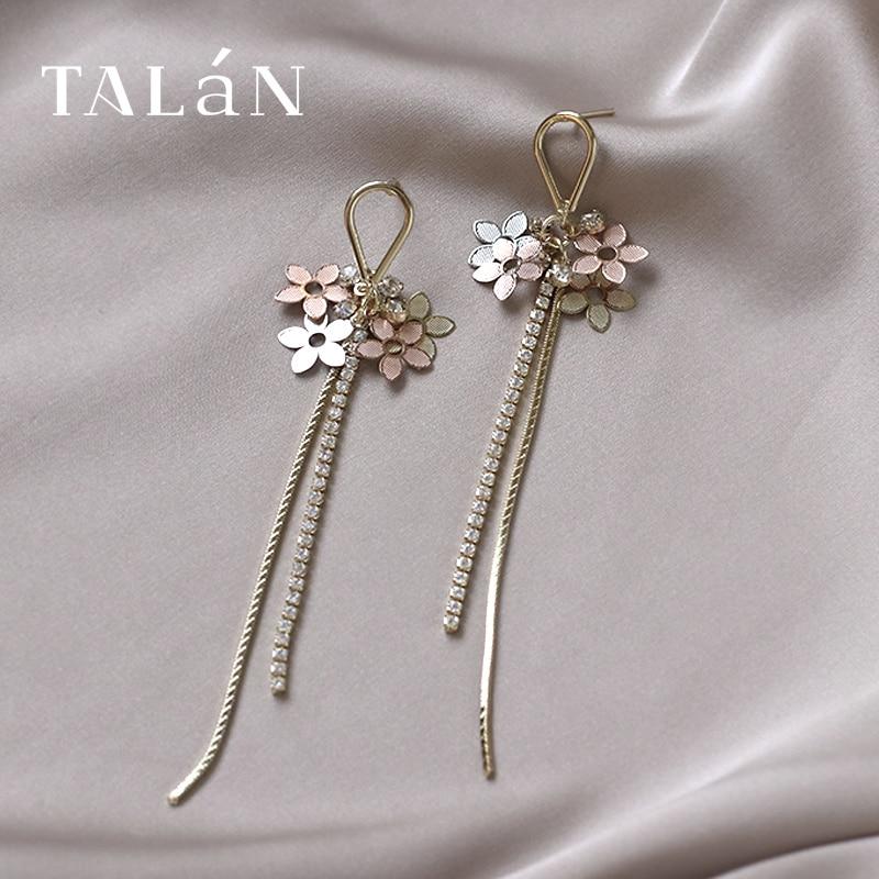 Light Luxury Small Flower Long Fringe Earrings 2020 New Trendy Eardrops Female Simple Graceful High Grade Sense Korean Ear