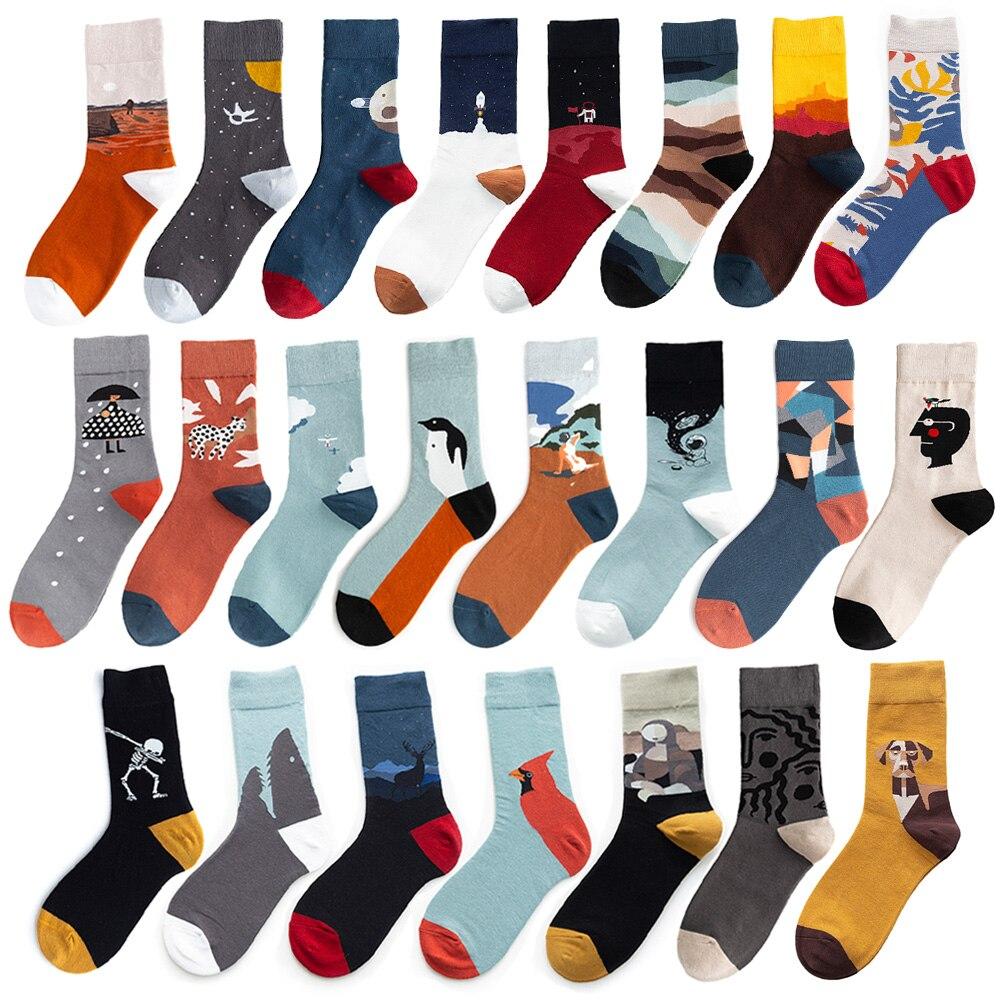 Instime 1 Pair Uni Painting Style Crew Socks Women Streetwear Skateboard Sport Cycling Designer Socks  Cotton Size 36-44