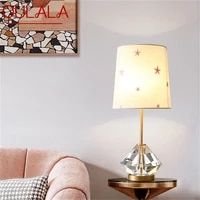 oulala brass table lamp contemporary creative crystal led desk light decoration for home bedroom