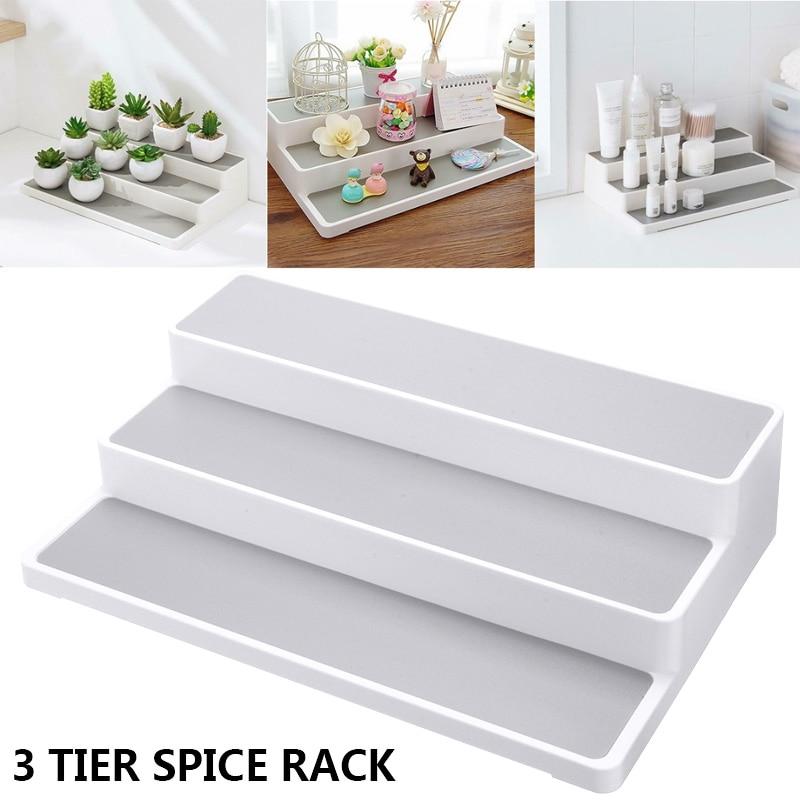 3 Tier Plastic Stepped Spice Rack Kitchen Desktop Seasoning Bottle Rack Holder For Spice Herb Curry Jar Storage Organiser