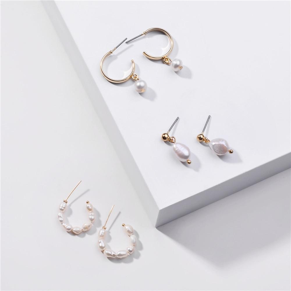 ZFYIN joyería de moda 3 par/lote de agua dulce perla Mini aros juego de pendientes para mujeres