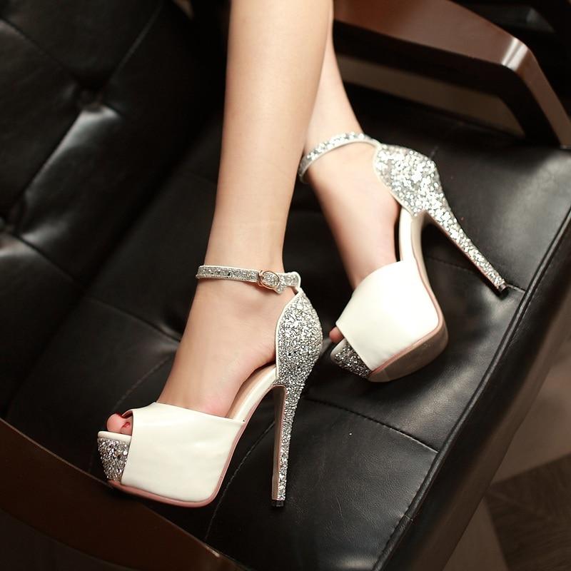 2020 New Fish mouth Head Sandals Women Summer Shoes Sequins Sandals Female 13cm Fine Heel Platform H