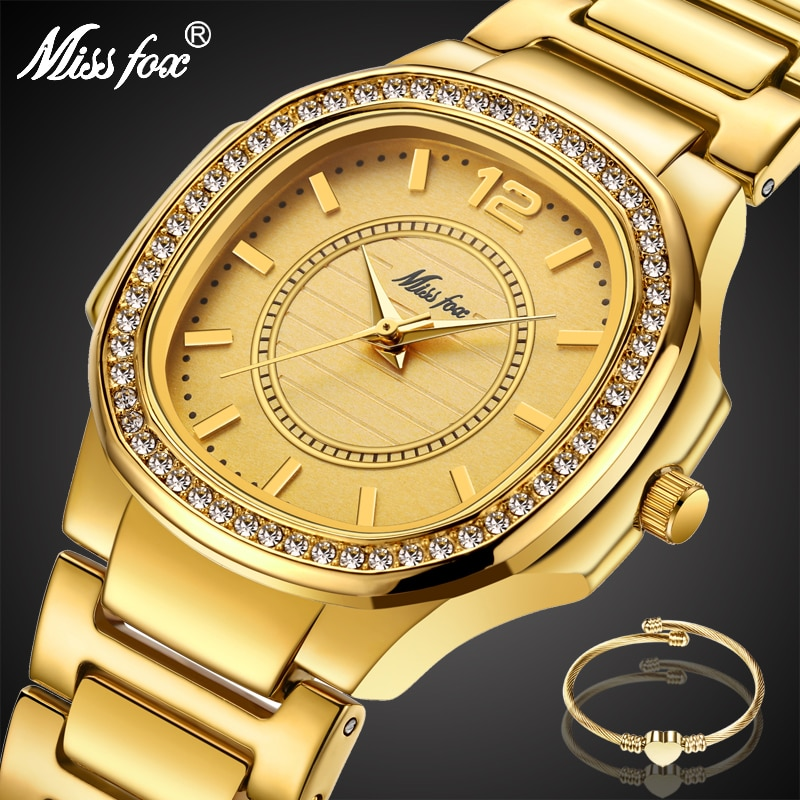 MISSFOX Arabic Numbers Women's Watches with Diamond Decorated Riley Stainless Steel Bracelet Fashion Dress Glitz Quartz Watch