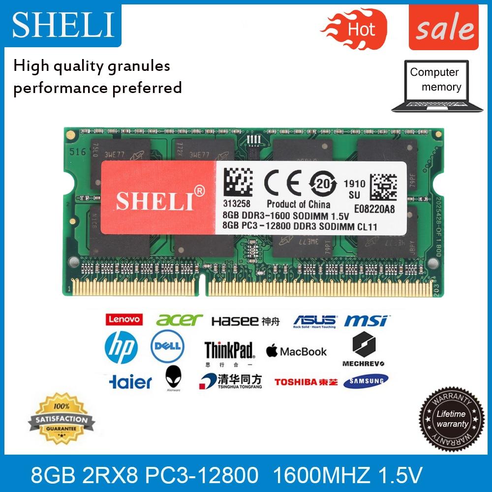 SHELI 8GB PC3-12800 DDR3 1600Mhz 204pin SODIMM RAM Laptop Memory CL11 1.5v
