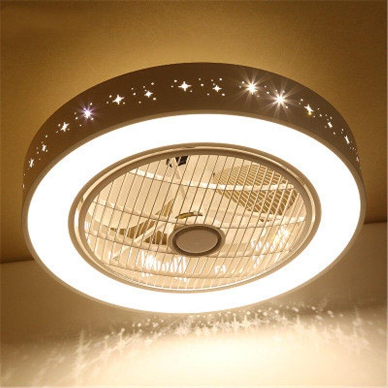 Quarto moderno led ventilador de teto luz criativo círculo design de controle remoto três-cor escurecimento restaurante ventilador luz