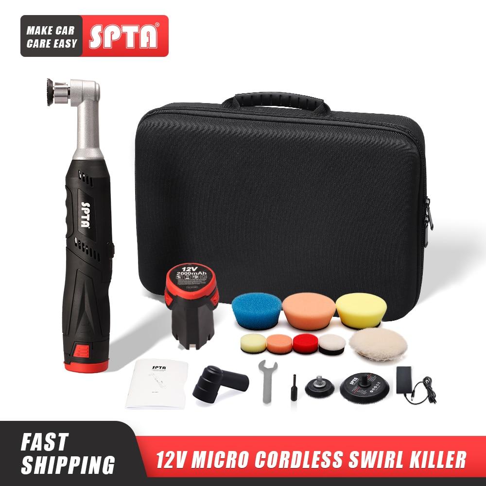 SPTA Cordless Mini Car Polisher, 12V RO/DA Micro Scratches Killer With 1 Battery, Polishing Pad, Wool Pad for Polishing, Sanding