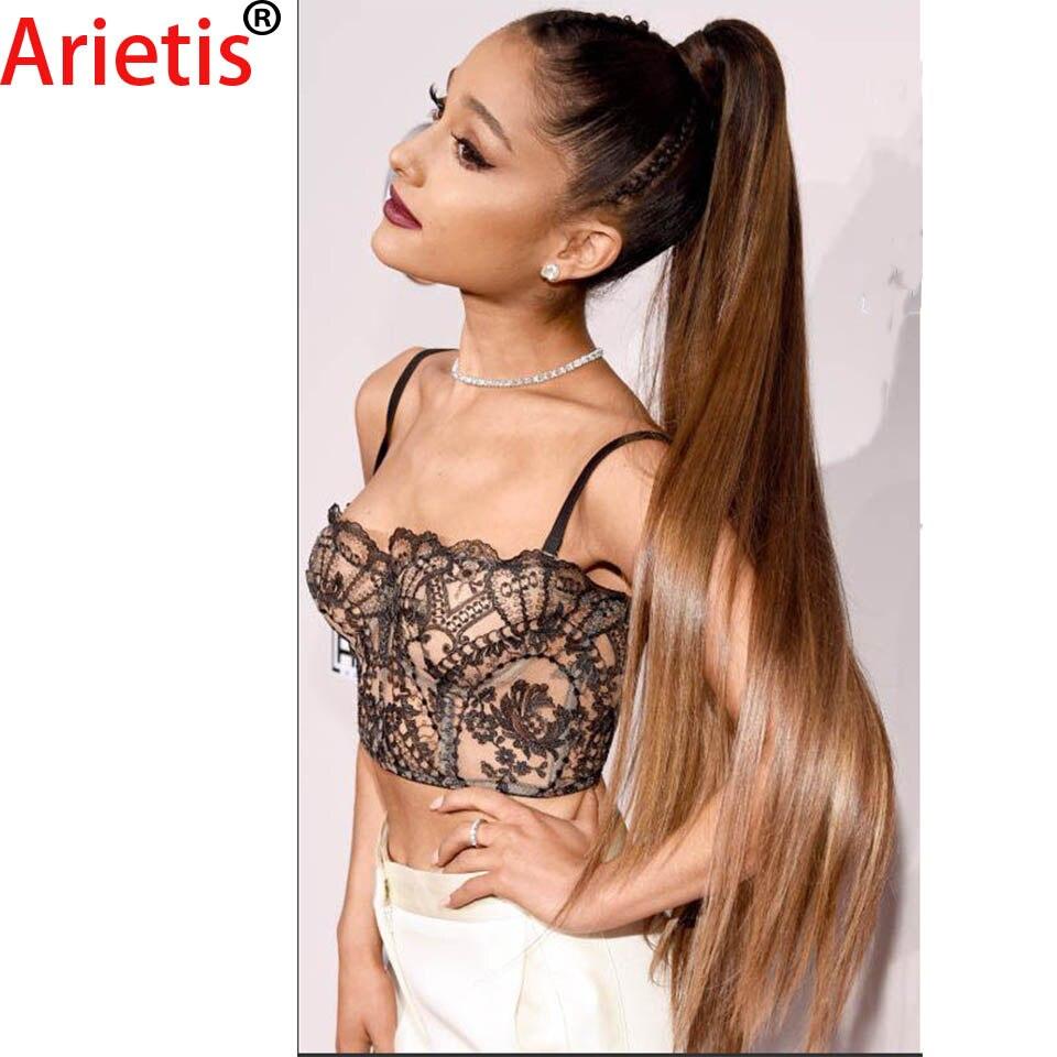 Arietis Store-وصلات شعر برازيلية 100% ، شعر بشري ناعم ، لون مسبق ، ذيل حصان 10-26 بوصة ، 1B/4/27 و 1B/99J ، للنساء ذوات البشرة البيضاء
